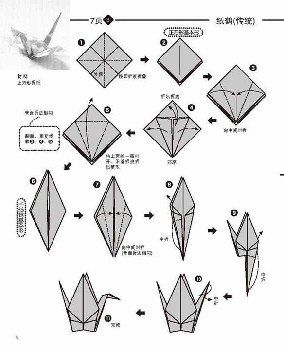 纸鹤的折法纸鹤的折法图解纸鹤折法简单纸鹤的折法