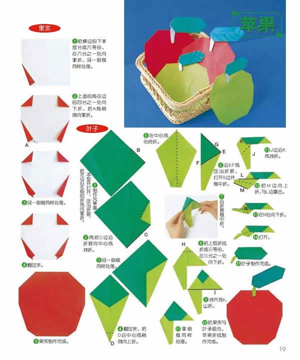 三角折纸苹果图解