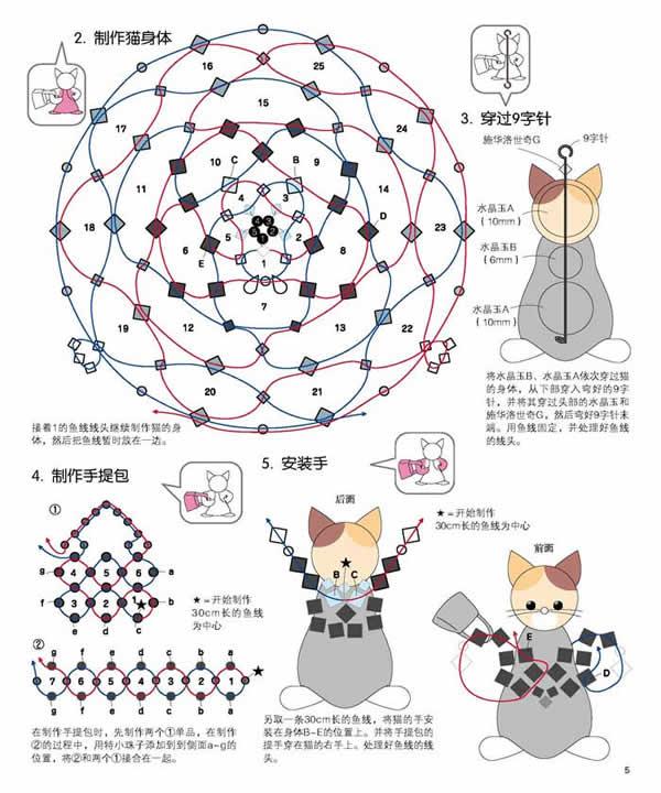 可爱的小花猫(串珠习作)(图7)  可爱的小花猫(串珠习作)(图9)  可爱的小花猫(串珠习作)(图11)  可爱的小花猫(串珠习作)(图14)  可爱的小花猫(串珠习作)(图22)  可爱的小花猫(串珠习作)(图27) 可爱的小花猫(串珠习作) 蓉的串珠习作--小花猫,在串制过程中特意做了简单的文字记录,部分照片多拍摄了几个角度,供爱好者参考,欢迎交流学习,谢谢欣赏!材料:以10厘珠为例:白橙两色(白色74颗,橙色12颗,黑色2颗,红色1颗。) 鱼线--2.