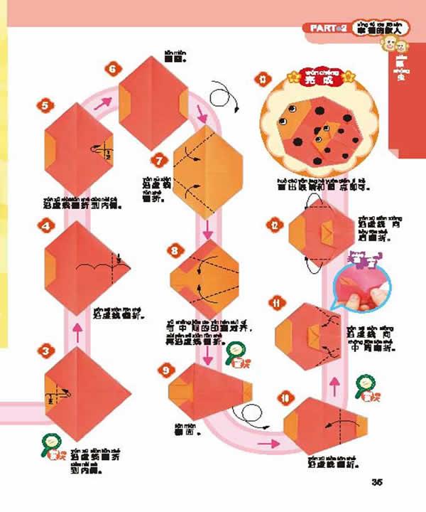 瓢虫帽子折纸步骤图